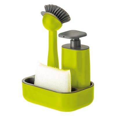 Dispenser sapone con supporto spugna verde L 13 x H 19 x P 26.5 cm