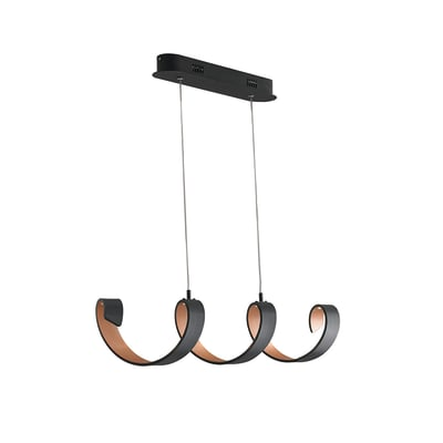 Lampadario Helix nero, in metallo,  LED 4luci