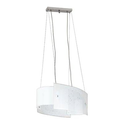Lampadario Classico Scinty bianco in vetro, L. 120 cm, NOVECENTO