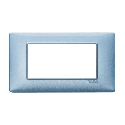 Placca VIMAR Plana 4 moduli blu metallizzato