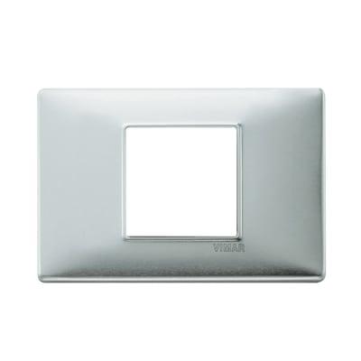 Placca VIMAR Eikon 2 moduli alluminio spazzolato