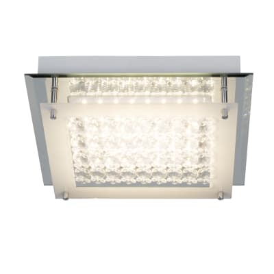 Plafoniera Diamond cromo, in metallo, 28x28 cm, LED integrato 12W 1200LM IP20 INSPIRE