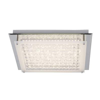 Plafoniera Diamond cromo, in metallo, 45x45 cm, LED integrato 40W 4000LM IP20 INSPIRE