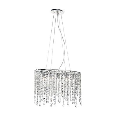 Lampadario Glamour trasparente in metallo , L. 140 cm, 5 luci