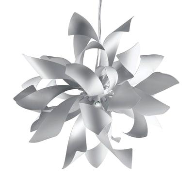 Lampadario Scandinavo Bloom bianco in metallo, D. 65 cm, L. 150 cm, 6 luci, FAN EUROPE