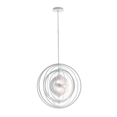 Lampadario Moderno Club bianco in metallo, D. 50 cm, L. 120 cm, FAN EUROPE