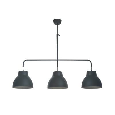 Lampadario Industriale Mezzo nero in metallo, D. 13 cm, L. 135 cm, INSPIRE