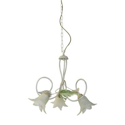 Lampadario Rustico bianco in metallo , D. 43 cm, 3 luci