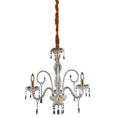 Lampadario Monalisa oro, trasparente, in vetro, diam. 54 cm, E14 3xMAX28W IP20