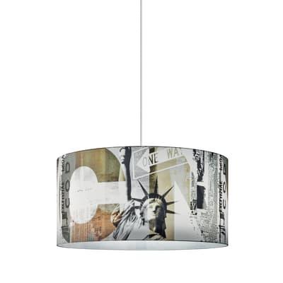 Lampadario New York bianco, giallo, nero, grigio, in plastica, diam. 40 cm, E27 MAX60W IP20