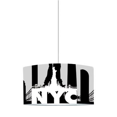 Lampadario Nyc bianco, nero, grigio, in plastica, diam. 40 cm, E27 MAX60W IP20