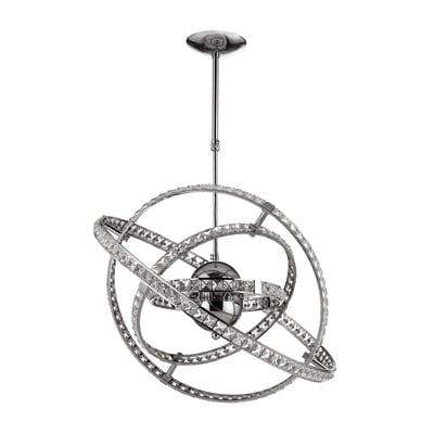 Lampadario Neoclassico 824 cromo in metallo, D. 60 cm, 6 luci