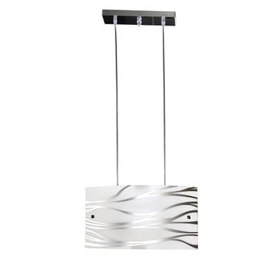Lampadario Classico Sonny acciaio, bianco in vetro, L. 45 cm, 2 luci, NOVECENTO