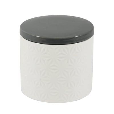 Porta cotone Romy in ceramica bianco grigio