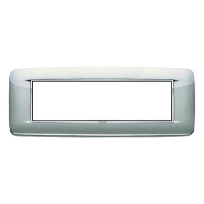 Placca VIMAR Eikon 7 moduli argento metal
