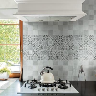 Piastrella Cement Grey/Black H 10 x L 10 cm nero, argento
