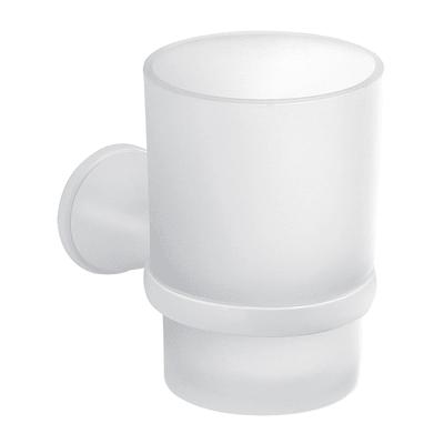 Bicchiere porta spazzolini Genziana in vetro bianco