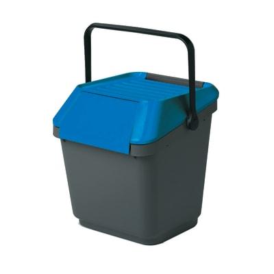 Pattumiera manuale grigio/blu 35 L