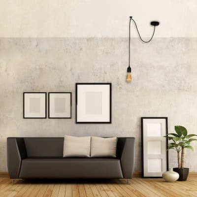 Lampadario Moderno Wire nero in metallo, D. 90 cm, L. 93 cm
