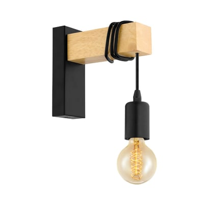 Applique Townshend nero/marrone, in metallo, 6.5x18.5 cm, E27 MAX10W IP20 EGLO