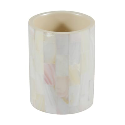 Bicchiere porta spazzolini Pearl in poliresina avorio
