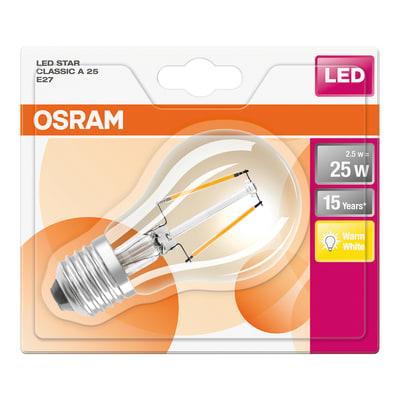 Lampadina LED filamento, E27, Goccia, Opaco, Luce calda, 2.5W=250LM (equiv 25 W), 320° , OSRAM