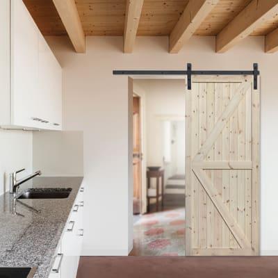 Porta scorrevole con binario esterno Loft grezzo in legno ...