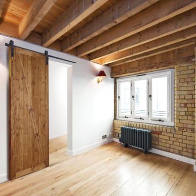 Porta scorrevole con binario esterno Factory in legno grezzo Kit Factory L 86 x H 213 cm