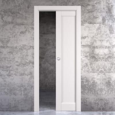 Porta scorrevole a scomparsa Aludra bianco L 70 x H 210 cm reversibile