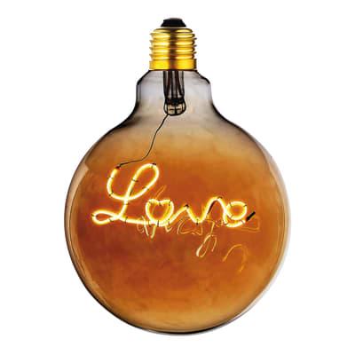 Lampadina decorativa LED, Love, E27, Globo, Ambra, Luce calda, 4W=180LM (equiv 20 W), 360°