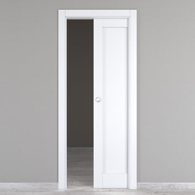 Porta scorrevole a scomparsa Atria bianco L 70 x H 210 cm reversibile