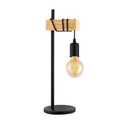 Lampada da tavolo Townshend nero, marrone, in tessuto, E27 MAX 60W IP20 EGLO
