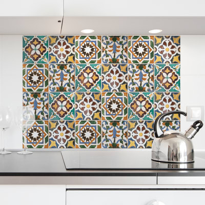 Sticker Kitchen Panel Piastrelle Verdi 45x65 cm
