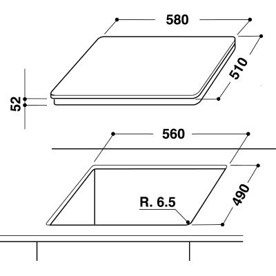 Piano cottura induzione 56 cm INDESIT VIA 640.1 C