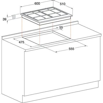 Piastra di cottura a gas 55.5 cm HOTPOINT PC 640 T ANR /HA