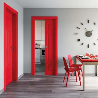 Porta a battente Coconut Groove rosso L 60 x H 210 cm sinistra