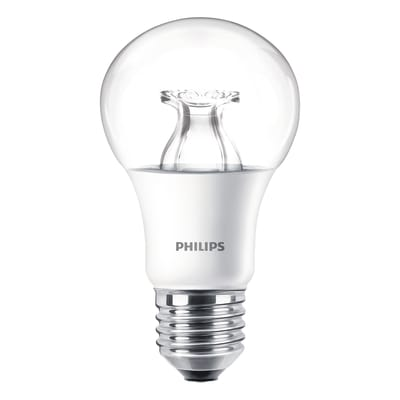 Lampadina LED, E27, Goccia, Trasparente, Luce calda, 8.5W=806LM (equiv 60 W), 220° , PHILIPS