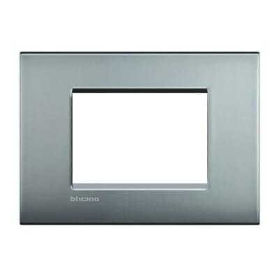 Placca BTICINO Living Light Air 3 moduli nichel satinato