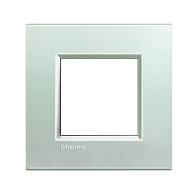 Placca BTICINO Living light 2 moduli argento opaco
