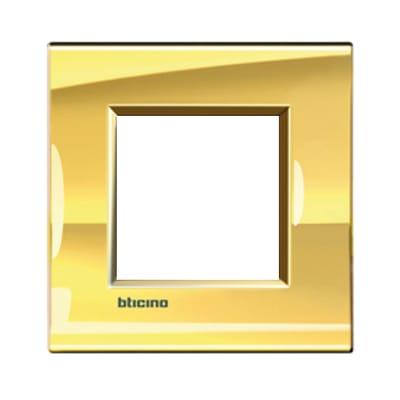 Placca BTICINO Living light 2 moduli oro opaco