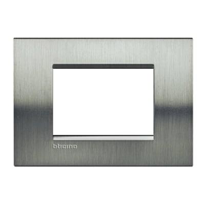 Placca BTICINO Living light 3 moduli acciao spazzolato