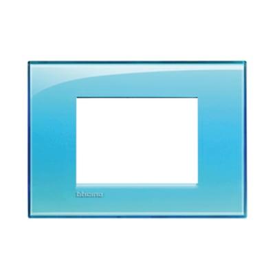 Placca BTICINO Living light 3 moduli azzurro