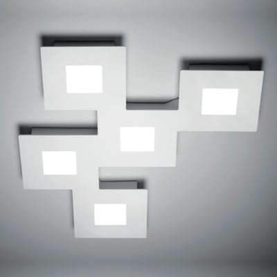 Plafoniera Squares silver, in acciaio, diam. 48, LED integrato 37W IP20