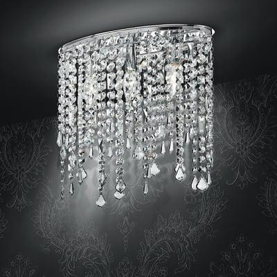 Plafoniera barocco Breeze trasparente, in cristallo, 40 cm, 3  luci