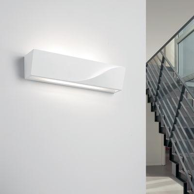 Applique design Pellene bianco, in gesso, 7.5x35 cm, 2 luci TECNICO