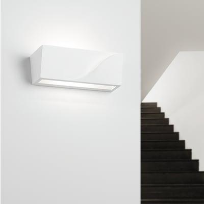 Applique design Pellene bianco, in gesso, 8x22 cm, TECNICO