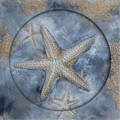 Quadro dipinto a mano Star Fish 80x80 cm