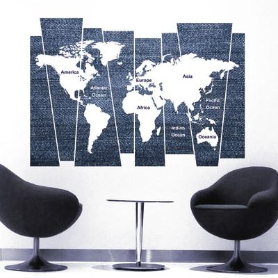 Sticker Denim world map 14x73 cm