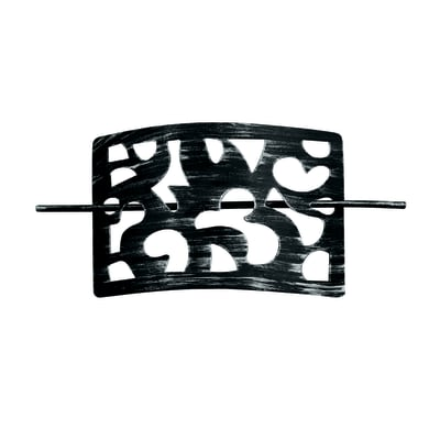 Fermatenda Spilla ricamata argento sfondo nero