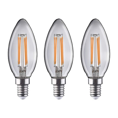 Lampadina Filamento LED E14 oliva bianco caldo 4.5W = 470LM (equiv 40W) 360° LEXMAN, 3 pezzi